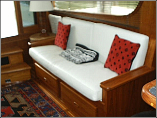 custom boat interior including love seat refinishing