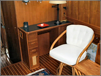 custom boat interior including miniature office