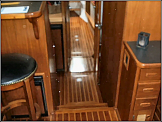 custom boat interior including full wooden floor